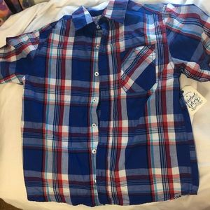 Faded Glory boy's red white &blue buttondown shirt